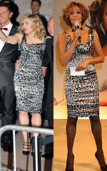 of R&B wear the same Dolce & Gabbana snow leopard print dress earlier on